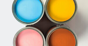 blue, yellow, pink and red paint